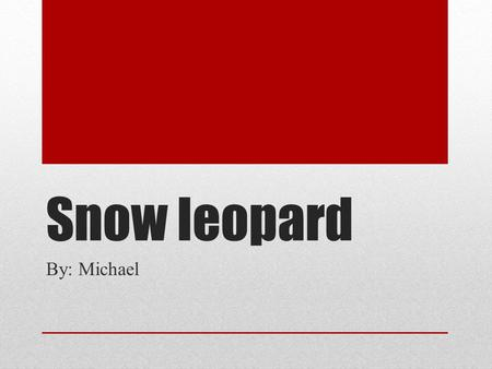Snow leopard By: Michael. Young Otis will have offsping.