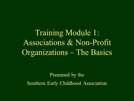 Training Module 1: Associations & Non-Profit Organizations – The Basics Presented by the Southern Early Childhood Association.