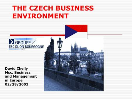 THE CZECH <strong>BUSINESS</strong> ENVIRONMENT David Chelly Msc. <strong>Business</strong> and Management in Europe 02/28/2003.