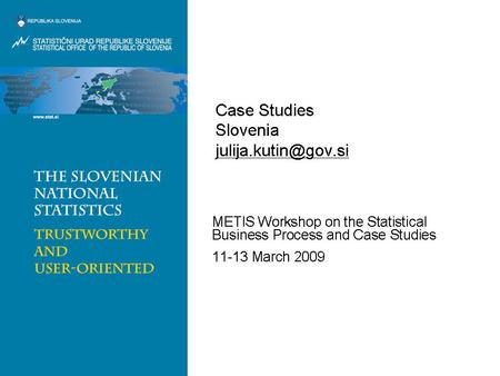 Case Studies Slovenia Julija Kutin  METIS Workshop on the Statistical Business Process and Case.