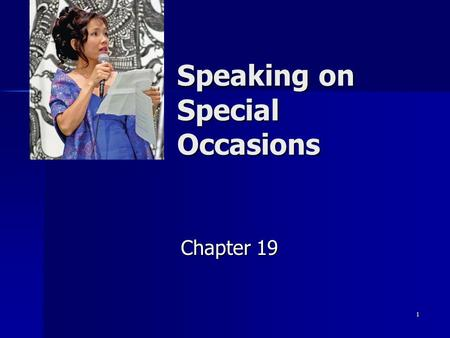 Speaking on Special Occasions