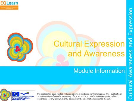 Cultural Awareness and Expression This project has been funded with support from the European Commission. This [publication] communication reflects the.