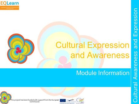 This project has been funded with support from the European Commission. Cultural Awareness and Expression Cultural Expression and Awareness Module Information.