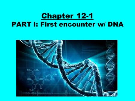 Chapter 12-1 PART I: First encounter w/ DNA. Long, long ago in the year 1928 ( about 90 years ago ) the first traces of DNA were found in a laboratory.