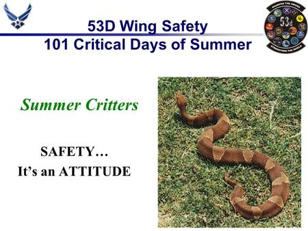 53D Wing Safety 101 Critical Days of Summer Summer Critters SAFETY… It's an ATTITUDE.