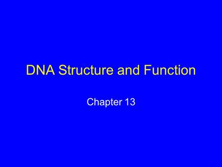 DNA Structure and Function Chapter 13. Miescher Discovered DNA 1868 Johann Miescher investigated the chemical composition of the nucleus Isolated an organic.
