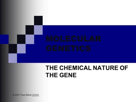 MOLECULAR GENETICS THE CHEMICAL NATURE OF THE GENE © 2007 Paul Billiet ODWSODWS.