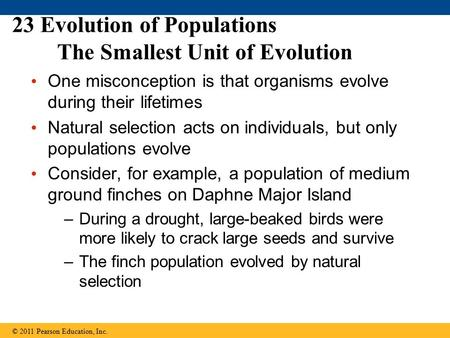 23 Evolution of Populations The Smallest Unit of Evolution