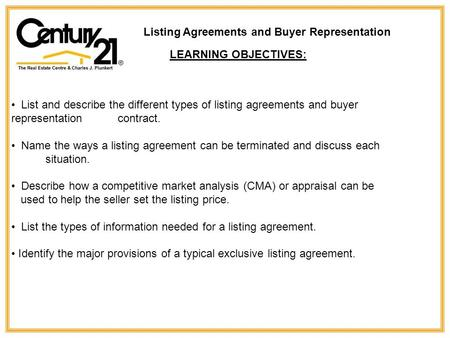 Listing Agreements and Buyer Representation