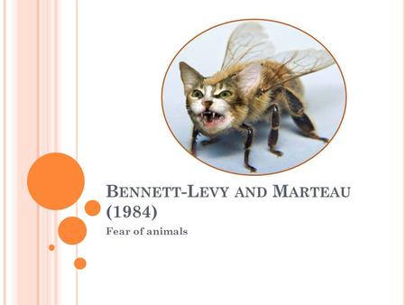 B ENNETT -L EVY AND M ARTEAU (1984) Fear of animals.