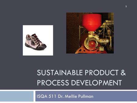 SUSTAINABLE PRODUCT & PROCESS DEVELOPMENT ISQA 511 Dr. Mellie Pullman 1.