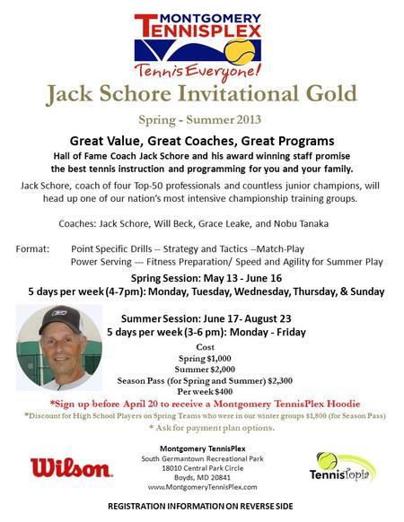 Jack Schore Invitational Gold Jack Schore, coach of four Top-50 professionals and countless junior champions, will head up one of our nation's most intensive.