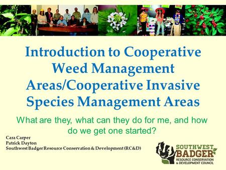 Introduction to Cooperative Weed Management Areas/Cooperative Invasive Species Management Areas Cara Carper Patrick Dayton Southwest Badger Resource Conservation.