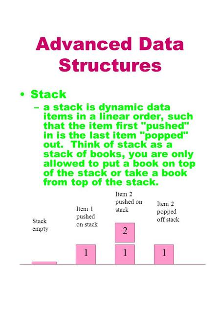 Advanced Data Structures Stack –a stack is dynamic data items in a linear order, such that the item first pushed in is the last item popped out. Think.