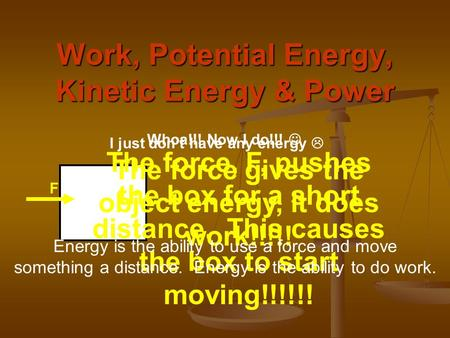 Work, Potential Energy, Kinetic Energy & Power