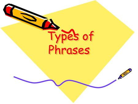 Types of Phrases Types of Phrases. A phrase is: A group of related words that is used as a single part of speech. A phrase is a group of words that does.