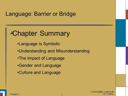 Looking Out, Looking In 12 th Edition Chapter 5 1 Language: Barrier or Bridge  Chapter Summary Language is Symbolic Understanding and Misunderstanding.