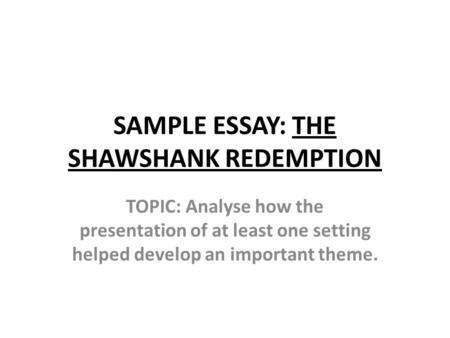 Shawshank redemption institutionalization essay