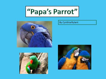 """Papa's Parrot"" By Cynthia Rylant."