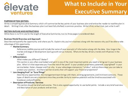 Garage writing a compelling executive summary