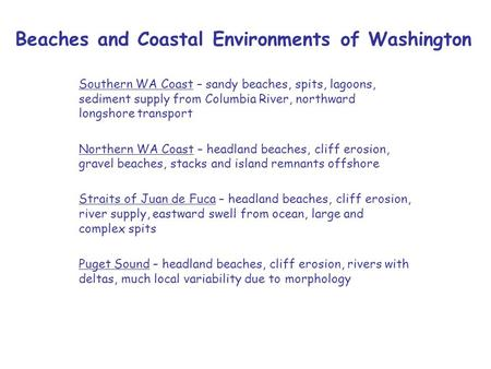 Beaches and Coastal Environments of Washington Southern WA Coast – sandy beaches, spits, lagoons, sediment supply from Columbia River, northward longshore.