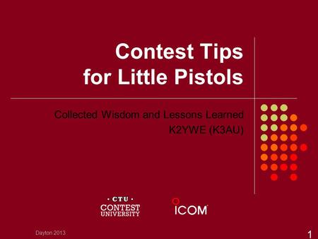 Contest Tips for Little Pistols