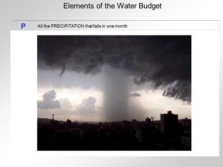 Elements of the Water Budget P All the PRECIPITATION that falls in one month.