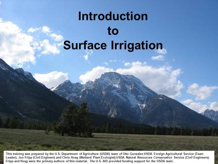 Introduction to Surface Irrigation