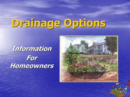 Drainage Options Information For Homeowners. Drainage Options 1. Horticultural ways to help wet soils 2. Slowing/intercepting Runoff 3. Slope/grading.
