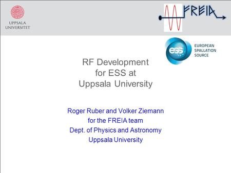 RF Development for ESS at Uppsala University