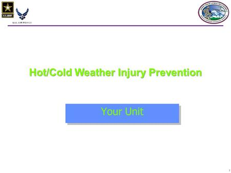 1 Hot/Cold Weather Injury Prevention Your Unit. 22 oDefensive Position - Static oAge 40 oFatigue level oTraining and experience oNutrition, activity,
