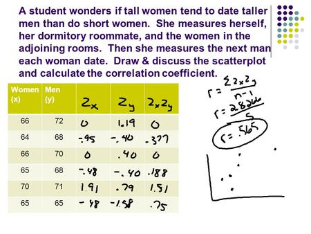 A student wonders if tall women tend to date taller men than do short women. She measures herself, her dormitory roommate, and the women in the adjoining.