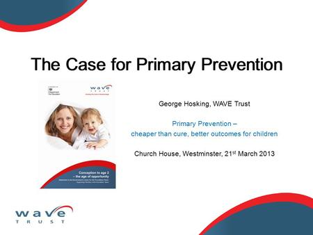 George Hosking, WAVE Trust Primary Prevention – cheaper than cure, better outcomes for children Church House, Westminster, 21 st March 2013 The Case for.