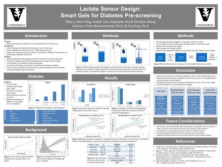 Lactate Sensor Design: Smart Gels for Diabetes Pre-screening Toby Li, Wern Ong, Joseph Sun, Stephanie Wu & Christine Zhang Advisors: Franz Baudenbacher,