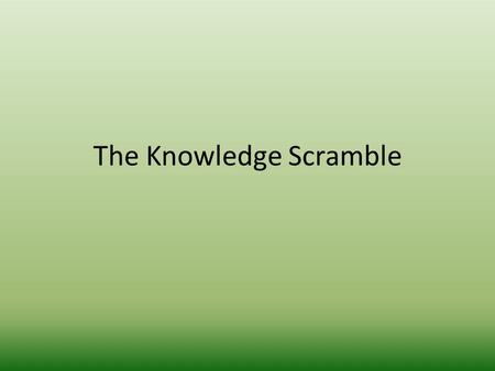 The Knowledge Scramble. What is another name for the land bridge?
