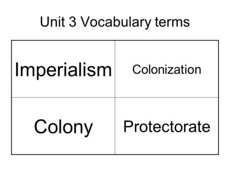 Unit 3 Vocabulary terms Imperialism Colonization Colony Protectorate.