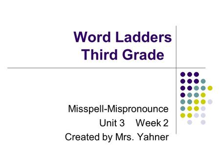 Word Ladders Third Grade Misspell-Mispronounce Unit 3 Week 2 Created by Mrs. Yahner.