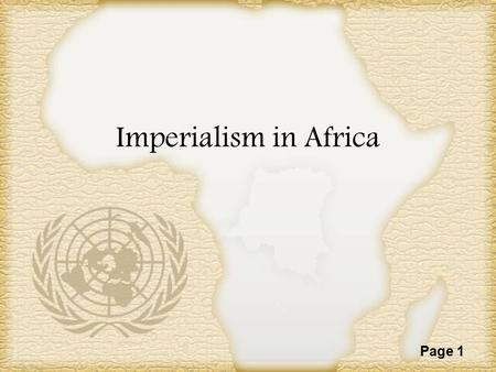 Imperialism in Africa.