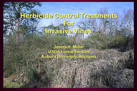 Herbicide Control Treatments For Invasive Vines Invasive Vines James H. Miller USDA Forest Service Auburn University, Alabama.