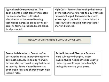 REASONS FOR FARMERS' ECONOMIC PROBLEMS Agricultural Overproduction. The opening of the West greatly increased the amount of land cultivated. Machinery.