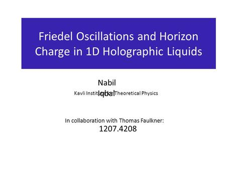 Friedel Oscillations and Horizon Charge in 1D Holographic Liquids Nabil Iqbal Kavli Institute for Theoretical Physics 1207.4208 In collaboration with Thomas.