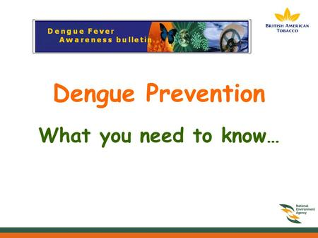 Dengue Prevention What you need to know…. What is dengue fever? Dengue Fever is an illness caused by infection with a virus transmitted by the Aedes mosquito.