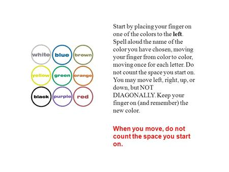 Start by placing your finger on one of the colors to the left. Spell aloud the name of the color you have chosen, moving your finger from color to color,