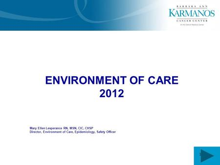 1 ENVIRONMENT OF CARE 2012 Mary Ellen Lesperance RN, MSN, CIC, CHSP Director, Environment of Care, Epidemiology, Safety Officer.