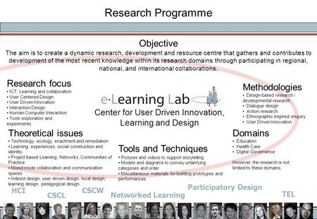 Objective The aim is to create a dynamic research, development and resource centre that gathers and contributes to development of the most recent knowledge.