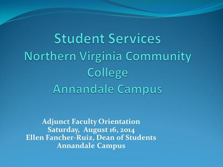 Student Services Northern Virginia Community College Annandale Campus