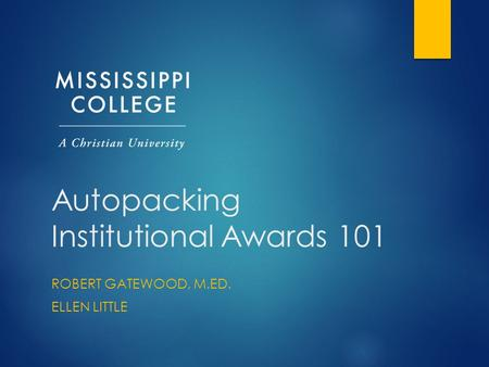 Autopacking Institutional Awards 101