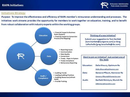Initiatives Strategy Purpose: To improve the effectiveness and efficiency of RAPA member's reinsurance understanding and processes. The initiatives work.
