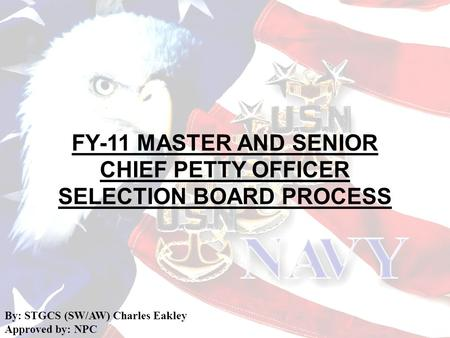 FY-11 MASTER AND SENIOR CHIEF PETTY OFFICER SELECTION BOARD PROCESS