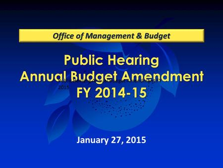 Public Hearing Annual Budget Amendment FY 2014-15 Office of Management & Budget January 27, 2015 Public Hearing Annual Budget Amendment FY 2015.